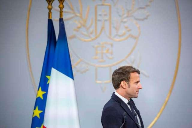 Emmanuel Macron, président de la République, participe à la cérémonie des vœux à la presse à l'Elysée, à Paris, le 15 janvier.