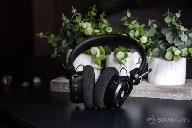 Grado GW100: The headphones leaning against a three-set of fake tabletop plants (black surface).