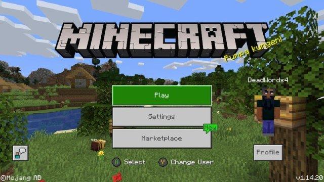 Minecraft main menu