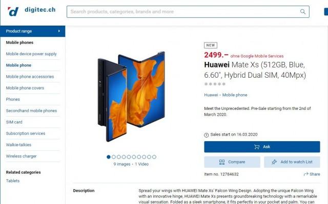 Huawei Mate Xs listing