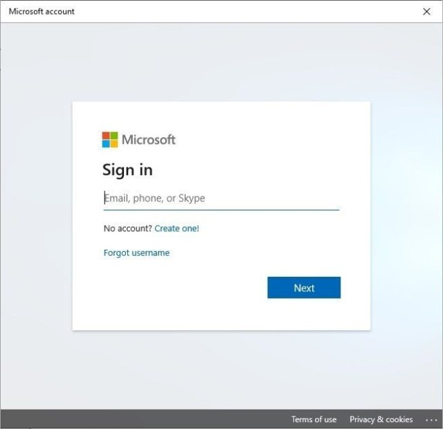 Microsoft Account Sign in on Windows 10