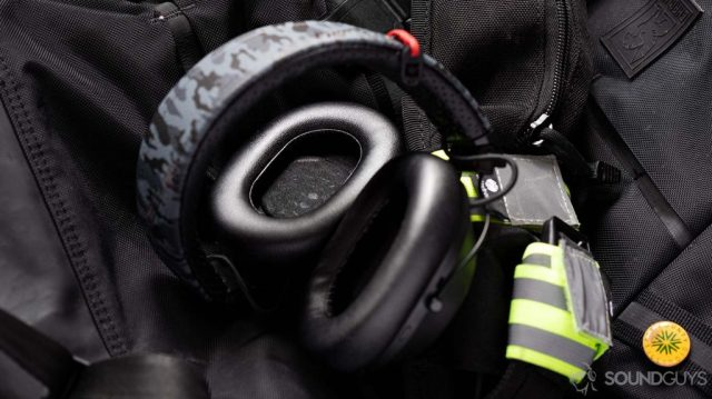 A picture of the Plantronics BackBeat Fit 6100 workout headphones' ear cups slightly angled to show the 40mm dynamic drivers.