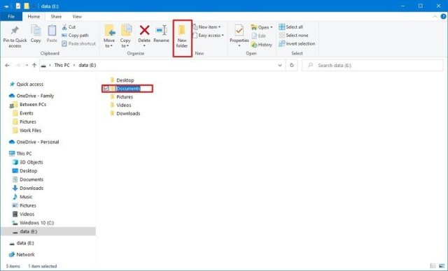 Windows 10 create new folder