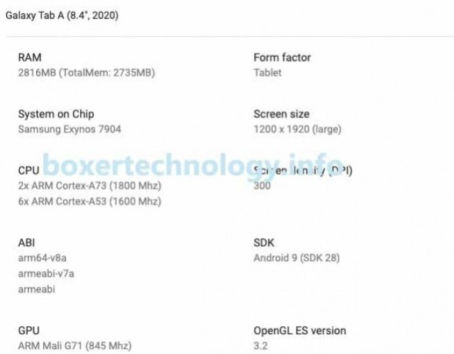 Samsung Galaxy Tab A 8.4 (2020) specs and render surface