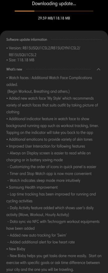 Samsung Galaxy Watch LTE One UI 1.5 Update