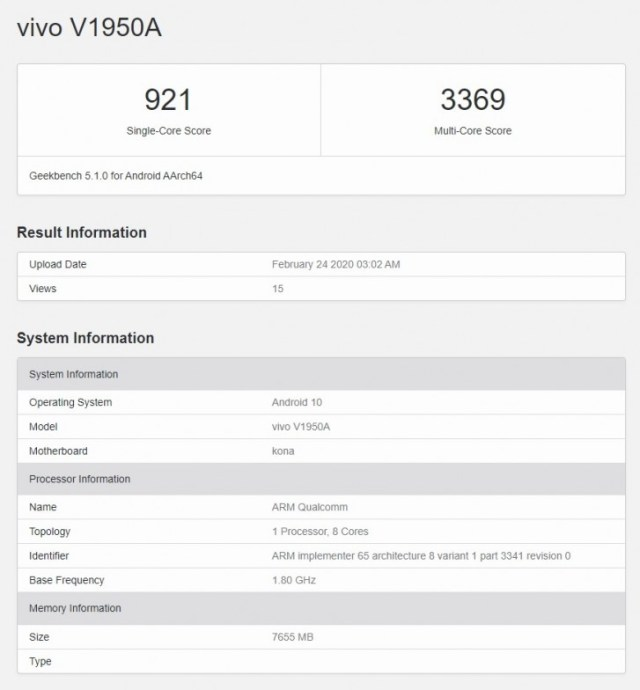 vivo NEX 3 5G flaunts Snapdragon 865 at Geekbench