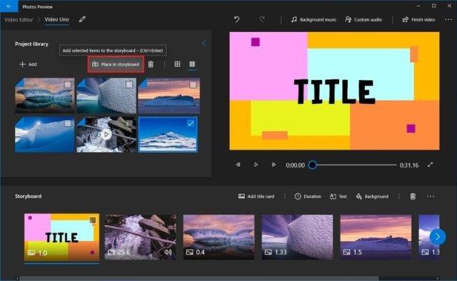 Photos video editor insert media to storyboard option