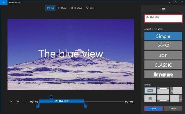 Photos video editor text settings
