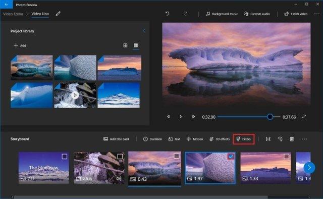 Photos video editor filters option