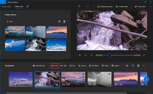 Photos video editor trim video option