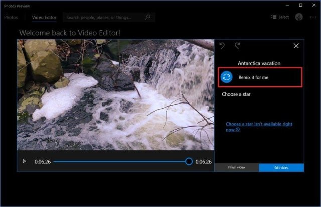 Photos remix option to change video theme
