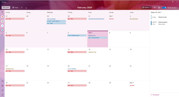 Windows 10 build 19564 – Application Calendrier