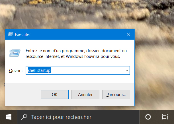 Exécuter - Windows 10