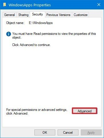 Windowsapps advanced security option
