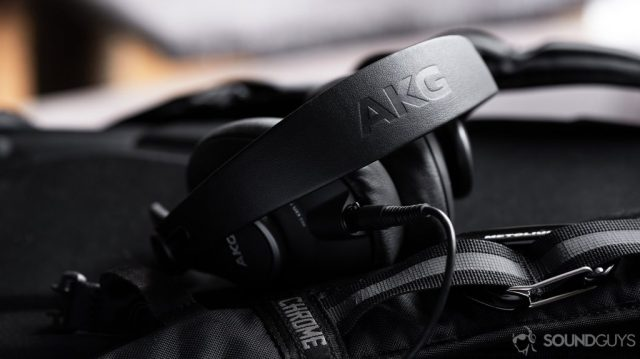 A picture of the AKG K371 wired over-ear headphones with the AKG headband in focus.