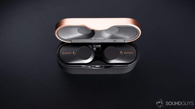 Aerial photo of the Sony WF-1000XM3 earbuds in the case which is open - Apple AirPods Pro vs Sony WF-1000XM3