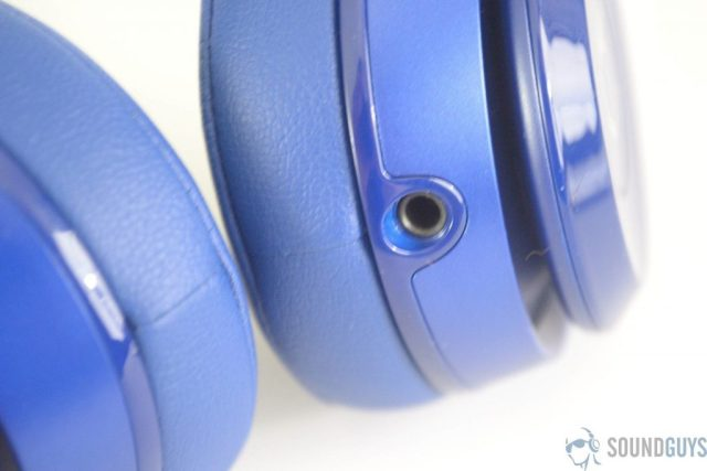 Close-up shot of the 3.5mm input on the Beats Solo 2 headphones.