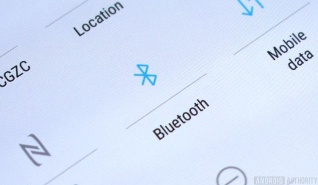A photo of the Bluetooth toggle on the Android dropdown menu.