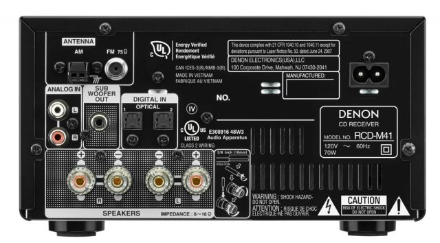 Photo of Denon receiver from the back to show all the ports.