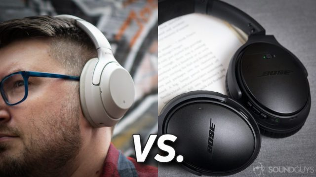 Pictured on the left is a man wearing the Sony WH-1000XM3 headphones and on the right are the Bose QC35 II on an open book.