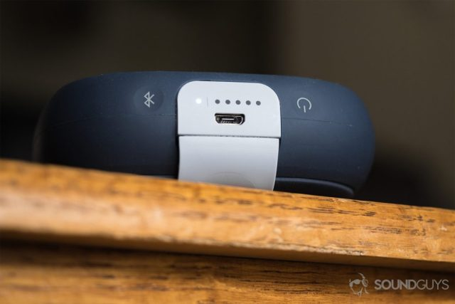The Bose SoundLink Micro (blue): a view of the micro USB port
