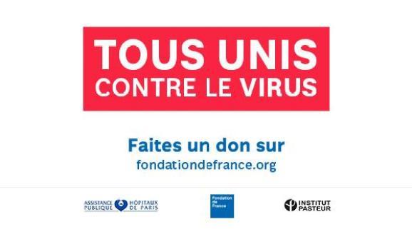 """L\'appel aux dons de \""""Tous unis contre le virus\""""."""