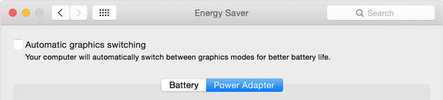 toggle off automatic graphics switching on Mac