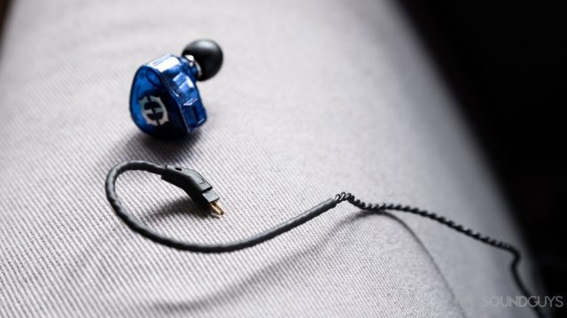 A close-up photo of the Massdrop x Empire Ears Zeus earbuds removable 2-pin cable.