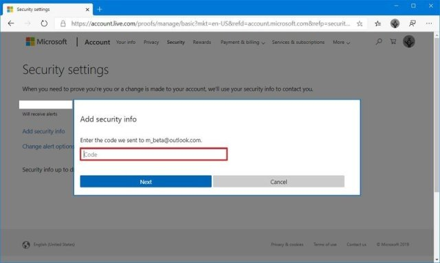 Microsoft account confirm security code