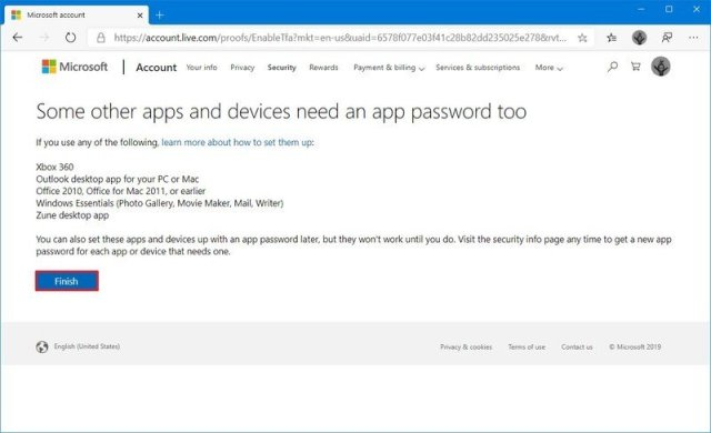 Microsoft account complete two-step verification
