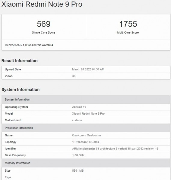 Redmi Note 9 Pro pops up on Geekbench