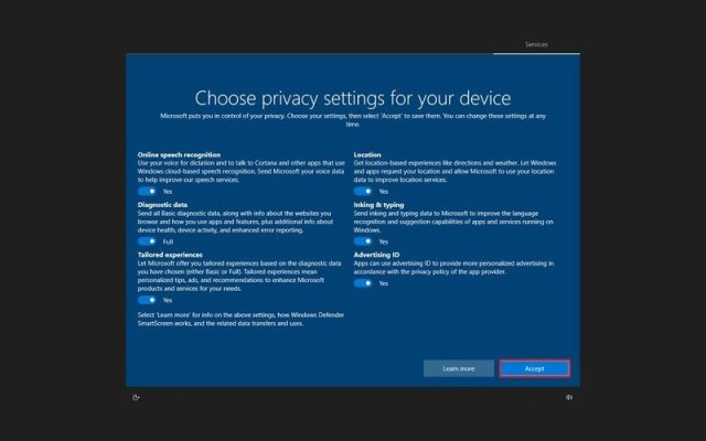 Windows 10 choose privacy settings new account