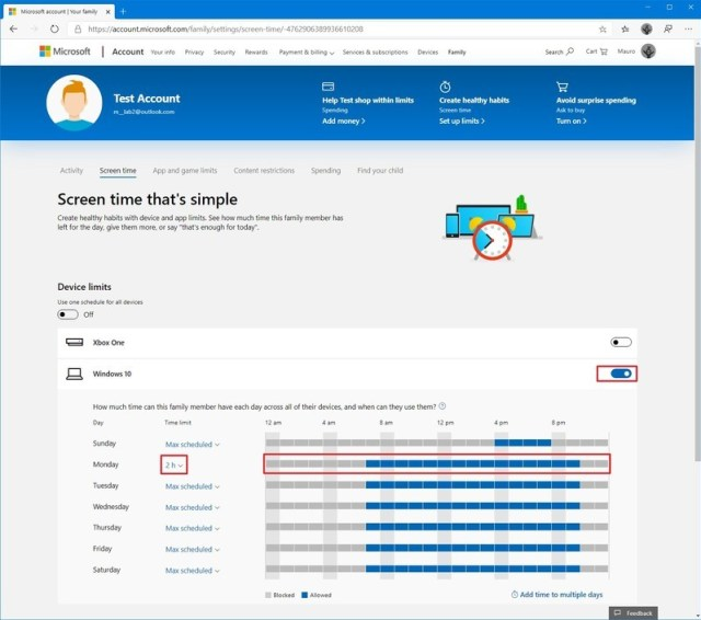 Microsoft family device limit settings