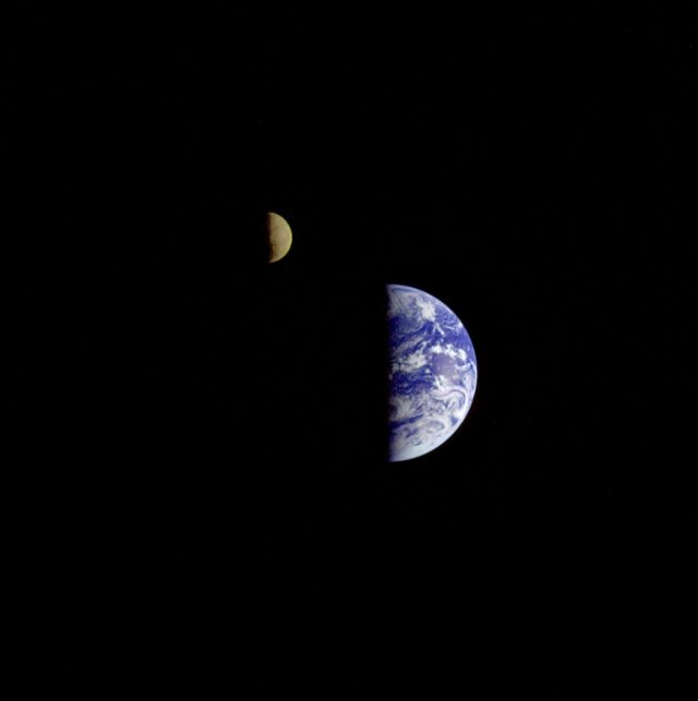 earth and moon in partial shadow