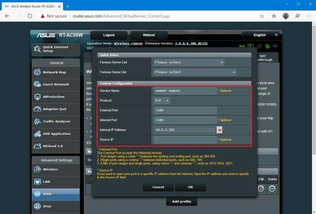 Router open port 3389 for remote desktop connections