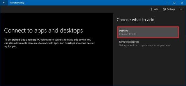 Windows 10 add new remote desktop connection