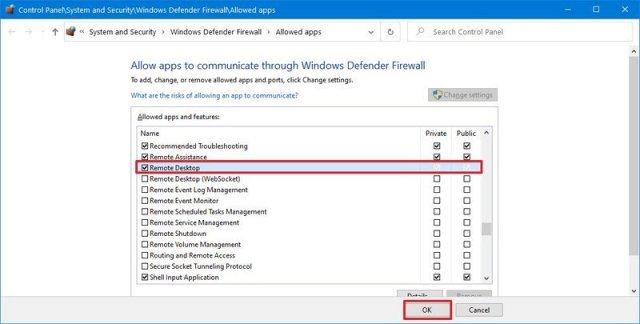Windows Firewall allow remote desktop in network and internet