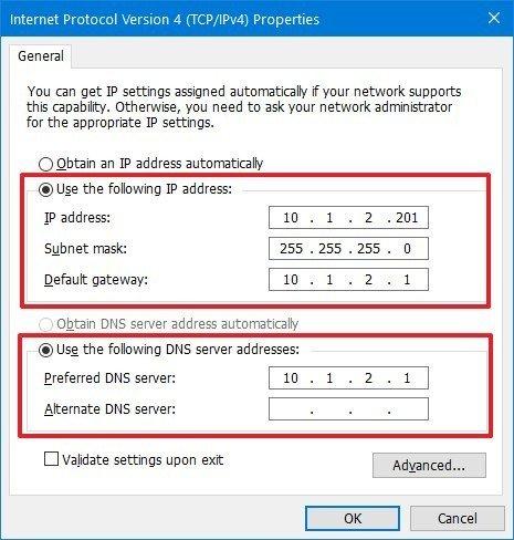 Windows 10 static IP configuration