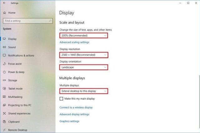 Wireless display resolution, scale, orientation settings