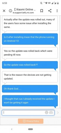 Screenshots of the update and the conversation with Xiaomi Customer Care