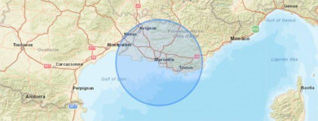 Voici à quoi correspondent les déplacements au départ de Marseille à 100 kilomètres à la ronde.