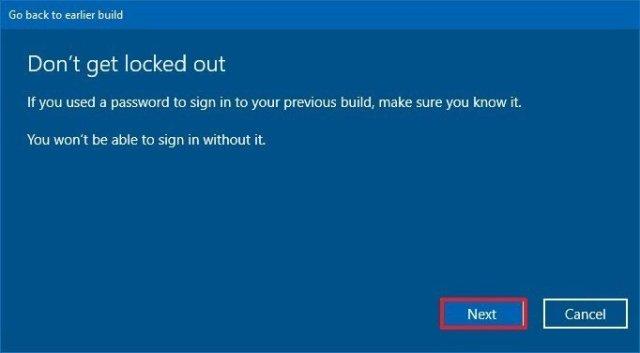 Roll back password warning on Windows 10