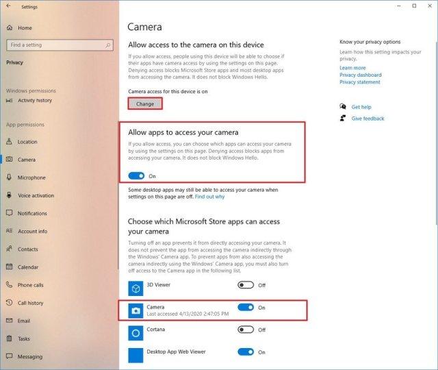 Windows 10 allow access to camera