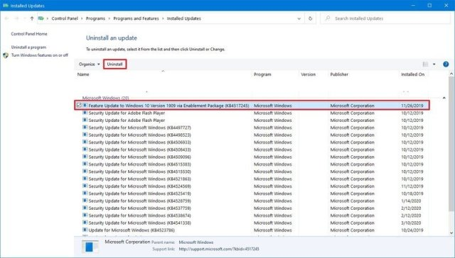 Uninstall update on Windows 10