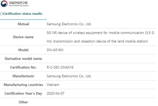 Samsung Galaxy A51 5G SM-A516N NRRA Certification