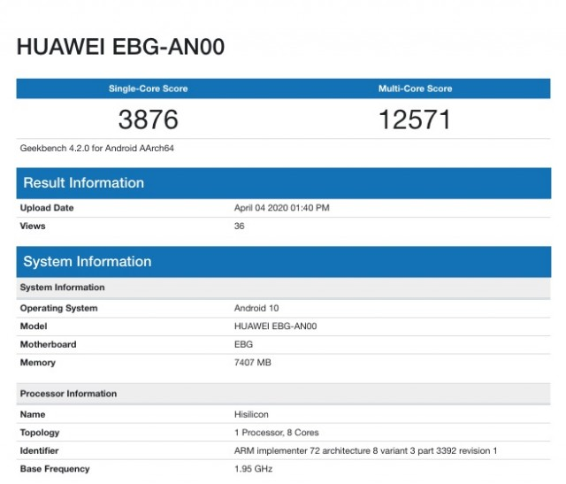 Honor 30 Pro Geekbench listing