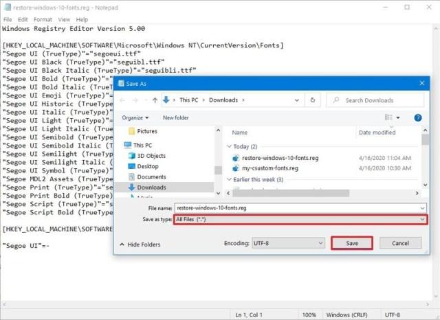 Rollback Deafult Font Settings on Windows 10