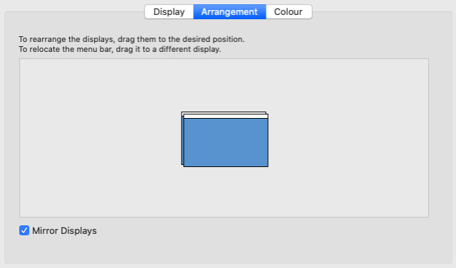 System Preferences Display option with mirrored displays