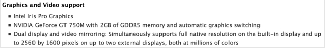 Graphics and Video support details for MacBook