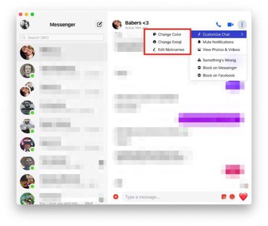 Customization Options Facebook Messenger on MacBook